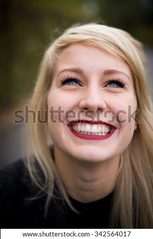 Stock Photo Portrait Of A Beautiful Young Blonde Happy Woman With A Big Smile 342564017